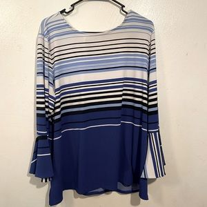 The Limited Blue Striped Bell Long Sleeve Blouse